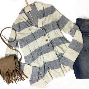 Free People Ivory Gray Striped Sweater Cardigan